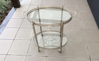 Serving table - Glass, Silverplate