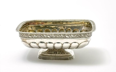 Silver gilt candy bowl, square shaped and decorated...