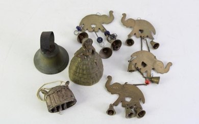 Small collection of brass and metal bells in various forms (Height of tallest 12cm)