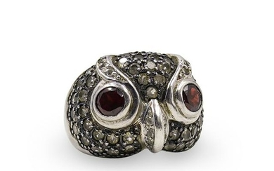 Sterling Silver and Ruby Owl Ring