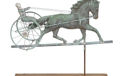 Swell bodied copper horse and sulky weathervane