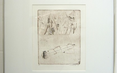 Sys Hindsbo: Two compositions. Signed S. Hindsbo. Etchings. Motif size 17×8.5 cm and 14.5×19 cm. (2)