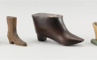 """TEN MINIATURE SHOE-FORM ITEMS Includes a wooden box with geometric inlay, length 7.5"""", three pin cushions, one aluminum lighter, one..."""