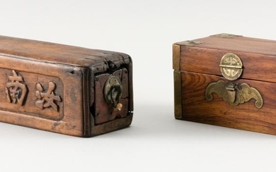 """TWO CHINESE WOOD BOXES 1) Small lift-top box with brass mounts and bat-form lock plate (no key). Height 3"""". Width 5.25"""". Depth 3.25""""..."""