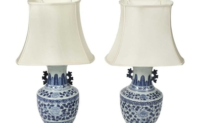 Table Lamps. A pair of Chinese porcelain vases, late Qing converted to table lamps