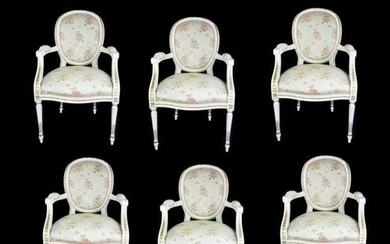 Ten Louis XVI Style Painted and Guilt Dining Chairs