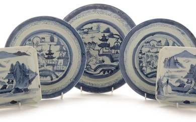Three Chinese blue and white plates and a pair of Japanese square dishes