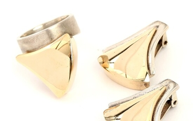 NOT SOLD. Toftegaard: A pair of 14k gold and sterling silver ear clips and a...