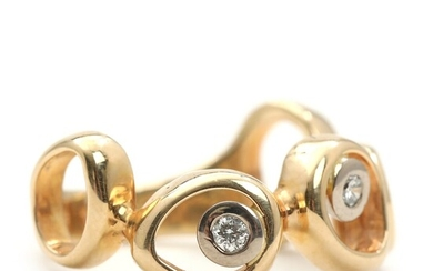 """SOLD. Toftegaard: """"April"""" diamond ring set with three brilliant-cut diamonds, mounted in 14k gold and..."""