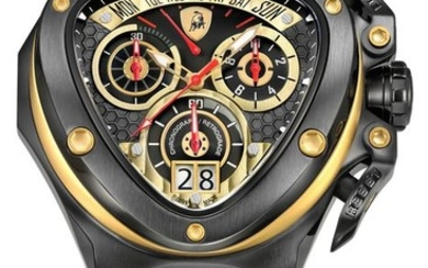 Tonino Lamborghini - Chronograph Watch Spyder Black PVD Gold with Leather Strap Swiss Made - 3012 - Men - 2011-present