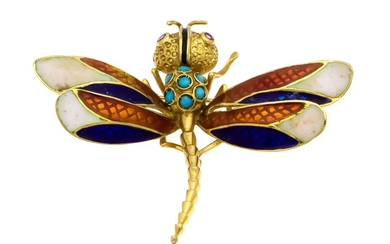 Turquoise enamel brooch Dragonfly GG 750/000 with 7...