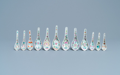 Twelve Chinese famille rose spoons for the Straits or Peranakan market, 19/20th C.