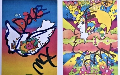 Two [2] Peter Max Autographed & Doodled Post Cards