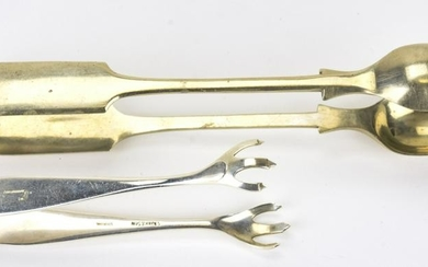 Two Antique Sugar or Ice Tongs - Sterling & Silver