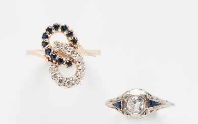 Two Diamond and Sapphire Rings