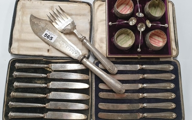 Two sets of silver handled Knives along with a Fish serving ...
