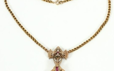 VICTORIAN, 14KT GOLD, RUBY & PEARL NECKLACE