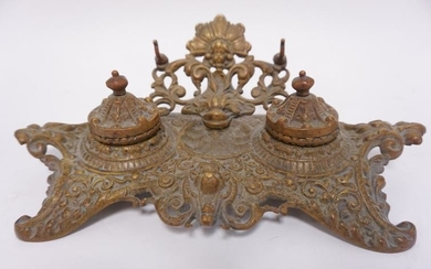 VICTORIAN BRASS DOUBLE INKWELL
