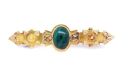 Victorian 15ct yellow gold and malachite brooch marked Chest...