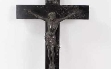 Victorian silver plate and ebonised wood crucifix
