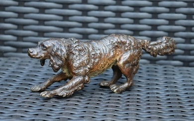 Vienna Foundry - Hunting Dog Sculpture - Bronze (cold painted) - Late 19th century