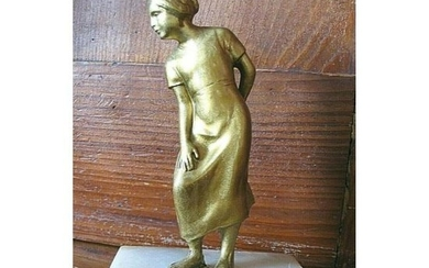 Vintage Cold Painted Bronze Figure of a Young Woman