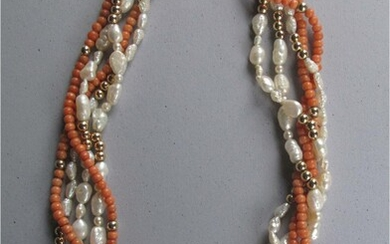 Vintage multi strand Coral, Pearl, and 14k yellow gold beads with 14k clasp FR3SH