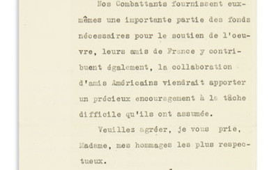 "(WORLD WAR I.) FOCH, FERDINAND. Typed Letter Signed, ""F. Foch,"" to the wife of diplomat Robert Bacon, in French"