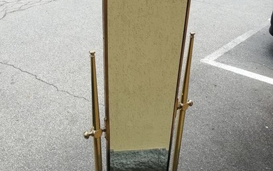 Wall-mounted mirror in brass and cut crystal, 50/70 years