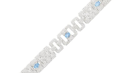 White Gold, Aquamarine and Diamond Bracelet