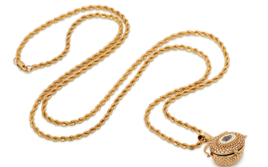 YELLOW GOLD NANTUCKET BASKET PENDANT/NECKLACE