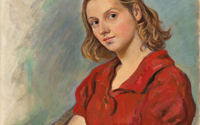 Zinaida Serebriakova (1884-1967), Portrait of Katya in a red blouse