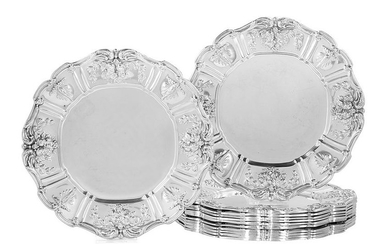 """12 """"Francis I"""" Sterling Bread & Butter Plates"""