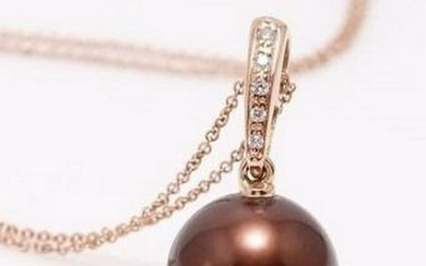 14 kt. Rose Gold - 11x12mm Round Chocolate Tahitian