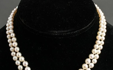 14K Gold Double Strand Graduated Pearls Necklace
