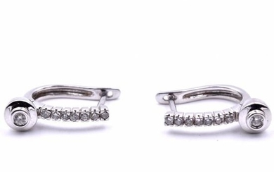 14k White Gold Diamond Huggies with Diamond Drop