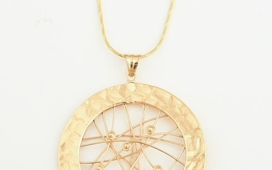 14k Yellow Gold Pendant Necklace.