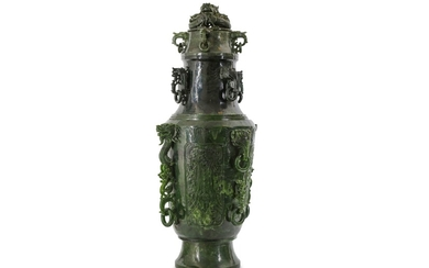 A MASSIVE CHINESE SPINACH JADE 'DRAGON' VASE AND COVER.