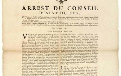 """1738. BRITAIN. LOUDÉAC (22). MARKS CANVASES. """"Arrest of the Council of State of the King, which evokes the appeal to the Parliament of RENNES (35) & prosecuted against Jean-Baptiste FLEURY Clerk in charge of the mark of the Canvases at the Office of..."""