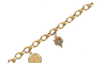 18 K (750 °/°°) yellow gold bracelet with partially guilloché oval links, bearing two charms also in 18 K yellow gold: a 20 franc Swiss Helvetia 1935 gold coin and a pyramid charm set with turquoise blue stone cabochons.