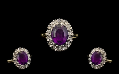 18ct Gold Attractive Amethysts and Diamond Set Cluster Ring ...
