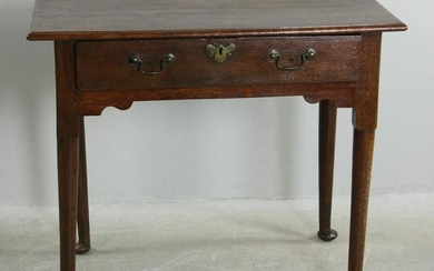 18thC English Queen Anne Oak Single Drawer Table