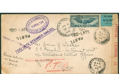1940 incoming from the U.S.A, bearing 30c Winged Globe stamp...