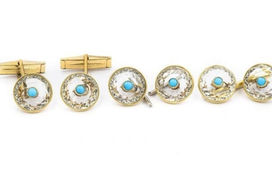 1970's Yellow Gold Crystal and Turquoise Tuxedo Stud