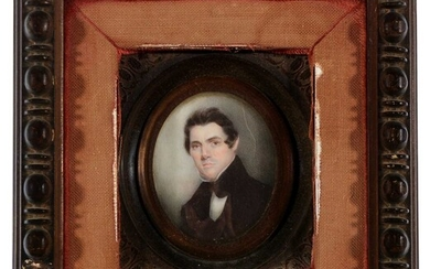 19th Century British School - a miniature bust portrait of a young gentleman