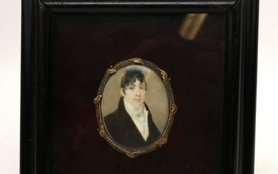 19th c. Miniature Portrait with Mourning Lock