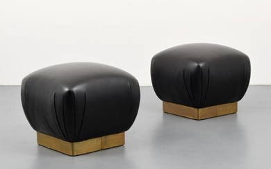 "2 ""Souffle"" Ottomans, Manner of Karl Springer"