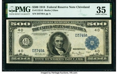 20066: Fr. 1132-D $500 1918 Federal Reserve Note PMG Ch
