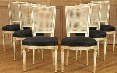 SET 6 FRENCH CARVED REGENCY STYLE DINING CHAIRS
