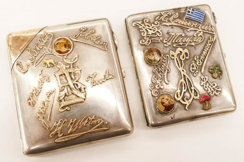 2pc Antique Russian Silver Gold Overlay Cigarette Boxes